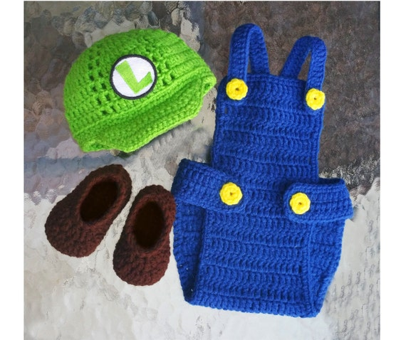 Baby Luigi InspiredBaby PropDiaper CoverCrochet by