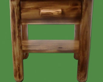 Torched Cedar Log Nightstand with Shelf