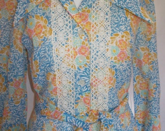 Vintage maxi dress 70s Berkertex Prairie Maxi Floral Dress size small