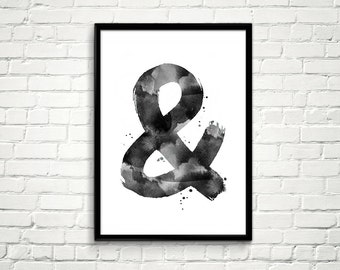 Printable Ampersand Art, Printable Wall Art, Ampersand Sign Print, Instant Download, Printable Artworks, Watercolor Typography Poster