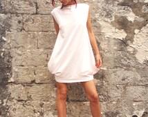Pale Pink Loose Fit Jersey Tunic/Oversized Stylish Dress