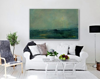 """Giclée PRINT, Abstract print of original painting.  Modern painting with yellow, dark green colours. """"The Meadow"""" by Inese Andzejevska"""