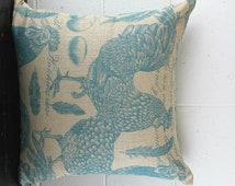 French Farmhouse Natural French Linen Rooster Cushion Cover by Peacock and Penny. 50cms x 50cms Beautiful French Provincial Style.