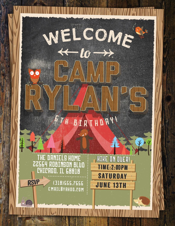 camp birthday, camping birthday, animals, invitation, invite ...