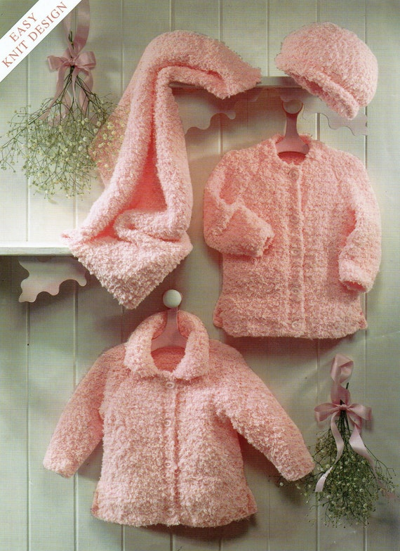 Knitting Pattern For Chenille Throw : baby jackets hat and blanket chunky chenille cardigans newborn