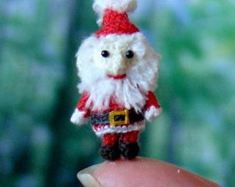 Mini santa - miniature amigurumi santa - made to order - handmade. Comes with FREE handmade display box.