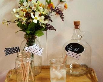 10 Black & White Polka Dot Drink Stirrers