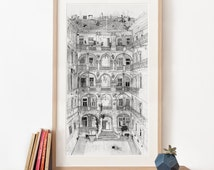 Budapest House Illustration, Panoramic Art Print, pencil drawing, beautiful courtyard Hungary, large art, black and white archival art print