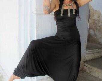 Black Harem Jumpsuit, Woman's Bohemian Strapless Jumpsuit, Women's Tribal Romper, Jumpsuits For Women, Long Strapless Woman Romper