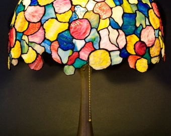 Tiffany hydrangea stained glass lamp. Colorful big lampshade. Art Nouveau lampshade Tiffany replica. Snowball colorful stained glass lamp.