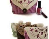 Valentine's Day Gift for mom Womens gift Knit cosmetic bag Wife gift Knitting toiletry bag  Cosmetic bag for mom Love gifts