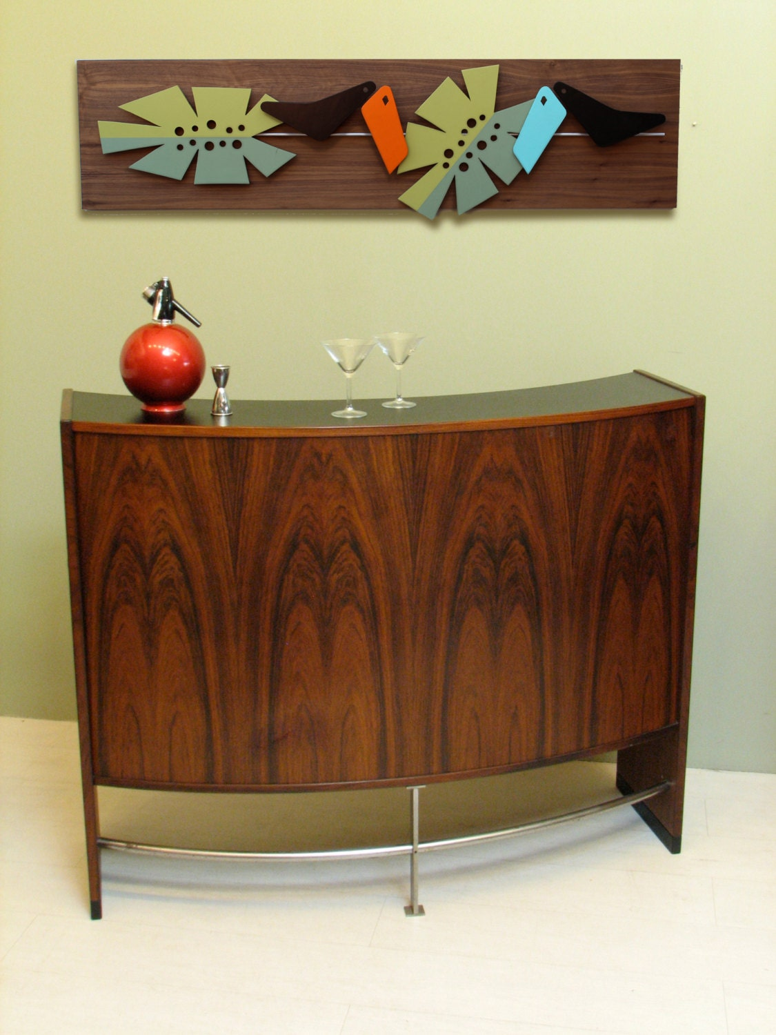 mid century modern wall art in the jungle painted hanging. Black Bedroom Furniture Sets. Home Design Ideas