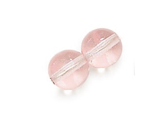 3mm Glass Beads, Clear Pink Smooth Round Czech Glass Druk Beads, #C7011/3 GB 592
