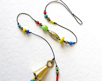 Beaded Garden Chime: Wind Chime with Multicolor Opaque Glass Beads. Fiesta Colors. Yellow. Lime. Turquoise. Orange. Blue. Black. Brass Bell