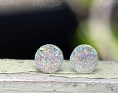 Clear Faux Druzy Stud Earrings, Clear Glitter Post Earrings, 12mm, Titanium or Stainless Steel Posts, Holiday Gift