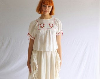 70s crop top embroidered peasant blouse embroidered cotton muslin