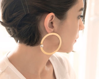 Statement Earrings | Oversized Earrings | Gold Hoop Earrings | Gold Hoops | Rhinestone Earrings | Boho Earrings | Gift For Her | Gold Studs