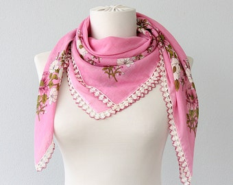 Pink scarf Pure cotton scarf Needle lace floral shawl Square summer scarf Cottage chic Boho Romantic head scarf triangle shawl Gift idea