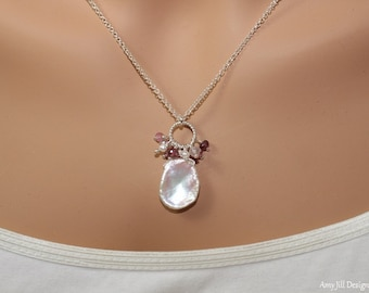 Keshi Necklace, Cluster Pendant, Pearl Jewelry, Keishi, Sterling Silver,