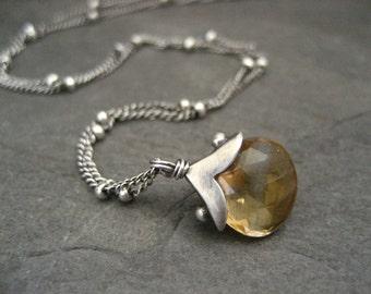 Citrine necklace, citrine pendant, sterling necklace, handmade pendant, gemstone necklace, November birthstone, genuine citrine