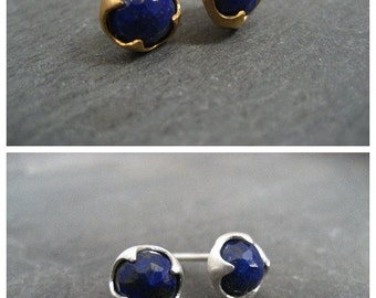 Lapis lazuli studs, rose cut studs, blue gemstone, faceted posts, gold studs, thorn posts, lapis cabochon
