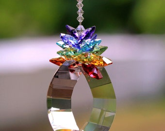 "2"" Finely Cut View Energy Gate Sun Catcher, m/w Swarovski Chakra Octagons Star Burst Crown + Chakra Beaded Strand, Pearl Place N More"