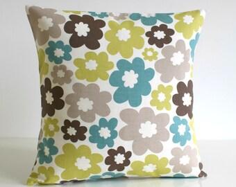 Decorative Pillow Cover, 16x16 Pillow Cover, 16 Inch Cushion Cover, Scandinavian, Pillow Sham, Floral Throw Pillow - Nordic Daisy Pistachio