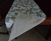 "REversible, Table Runner, Paisley Blues and Greys, Taupe, Gray Diamond, 13"" x 72"""