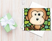 Monkey Birthday Card - Awesome Monkey on Green Background - Baby Shower Card, Invitation, Art Card, Holiday Card - by Artist Kathy Lycka