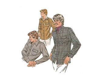 Flapped Pocket Men's Shirt Kwik Sew 1023 Tuck in or Shirt Jacket Chest Sizes 34-36 Vintage 1970s Menswear Sewing Pattern