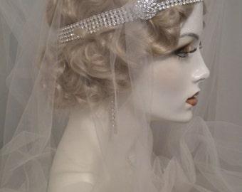 1920s bridal headpiece, Gatsby crystal headband, silver headpiece, flapper headband, vintage style headpiece, edwardian headpiece  # Elise