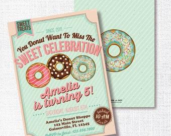 DONUT Birthday party invitation breakfast birthday sweet treats donut want to miss the sweet celebration pajama birthday pj birthday pancake