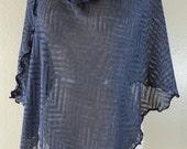 """Gunmetal Chevron Lace Knit """"Susan"""" Cowl Neck Poncho Scarf"""