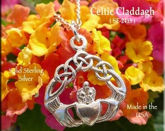Sterling Silver Claddagh Charm-Pendant, Irish Necklace with Celtic Knotwork, Celtic Wedding Jewelry, Irish Jewelry, Celtic Jewelry, SE-2415