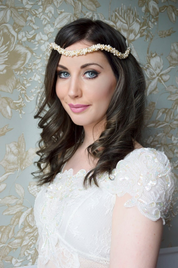 Bridal Headpiece, Wedding Headband, Ivory Headband, Pearl Headband Wedding, Ivory Wedding Headpiece, Beaded Headband