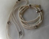 White coral beads necklace set w Thai silver beads , beaded jewelry , white coral jewelry , single/ double/ multi strand layering necklaces