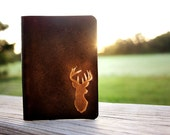 Personalized Passport Cover for Men, Deer Antlers Leather Passport Holder Stag Fathers Day Gift Passport Case, Taxidermy Holder Hunters Gift