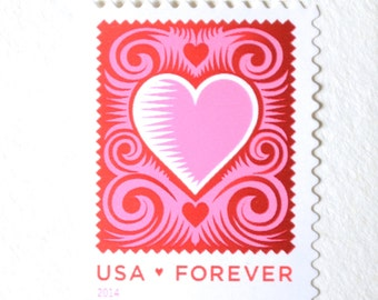 10 Pink Heart Forever Postage Stamps // Cut Paper Heart // Wedding Invitations // Cards // Valentines // Save the Dates