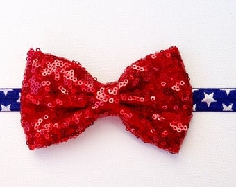4th Of July Sequin Bow Headband | 4th of July Headband | Fourth of July Baby Girl Headband | 4th Of July Sparkle Bow | Red Sequin Bow