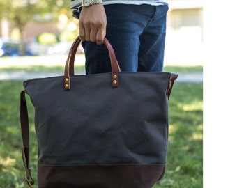 UTILITY TOTE | Modern Diaper Bag | Laptop Bag | Waxed Canvas Leather Bag With Zipper | 4 Pockets | Crossbody Strap | Grey | Ready to Ship