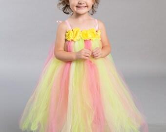Flower girl dress - tutu dress - tulle dress - empire dress - Infant/Toddler - Pageant dress - wedding - Princess dress - Yellow pink dress