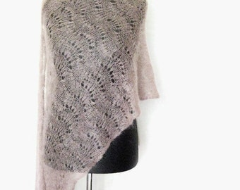 Taupe mohair shawl, hand knit lace, large scarf lightweight wrap, knitted stole, brown scarves, minimalist knitwear, wedding accessory sepia