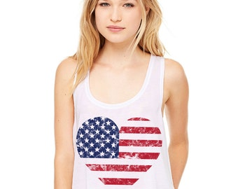 Cropped Tank Top - Heart American Flag - Summer Outfit Spring Fourth of July 4th Distressed  Casual Cheap Graphic