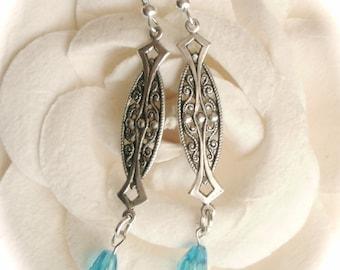 Aquamarine Swarovski Crystal Teardrop Dangle Earrings, Art Nouveau Silver Earrings, Aquamarine Teardrop Vintage Style Earrings, Gift For Her