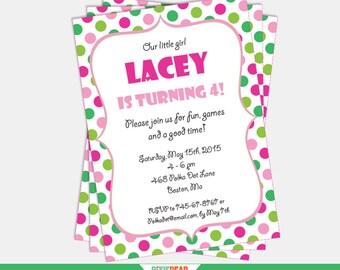 Pink and Green Invitation - Confetti Invitation - Polka Dot Invitation - Polka Dot Party - Confetti Birthday - Editable (Instant Download)
