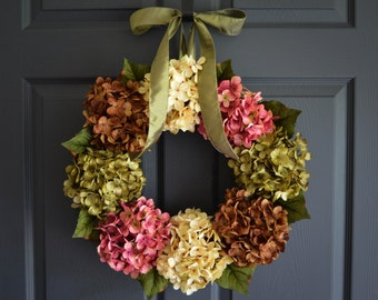 Wreath | Front Door Wreaths |  Outdoor Wreaths | Summer Hydrangea Wreath | Door Wreath | Fall Wreath | Housewarming Gift