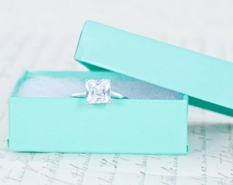 SALE - Princess Cut Ring - Solitaire Engagement Ring -  Wedding Ring - Promise Ring - Purity Ring - 1.5 Carat - CZ Ring - Sterling Silver