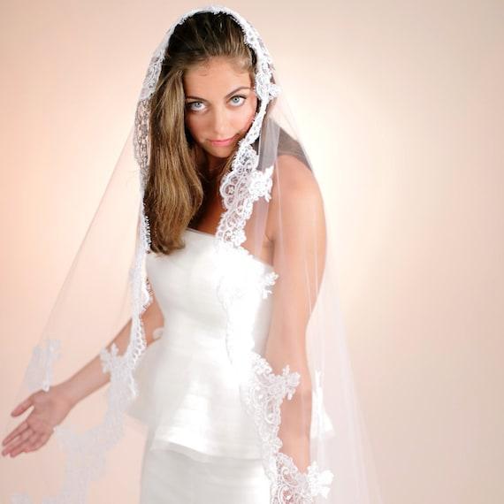 Mantilla Veil, Wedding Headpiece, Bridal Veil, Formal Wedding Lace ...