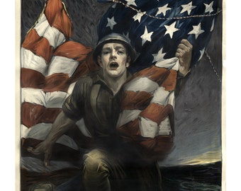 Liberty Bonds WWI World War One Soldier Propaganda Poster - Vintage Military Art Prints - War Bonds - American Flag - Militaria Decor