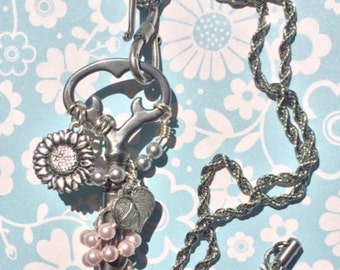 SALE Antique Skeleton Key Necklace & Silver Sunflower, Wire Wrapped Pendant, Boho Necklace, Steampunk Jewelry, Vintage Jewelry, Handmade